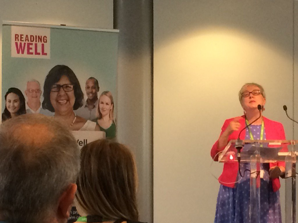 I'm @wellcometrust for @readingagency launch of fantastic libraries #ReadingWell @UKSCL books for health scheme. https://t.co/dVVUPGqz7e