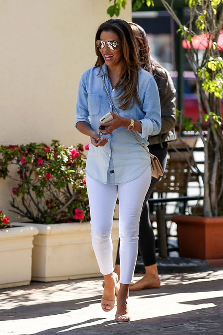 Eva Longoria's Ombre Denim Shirt Outfit for Less