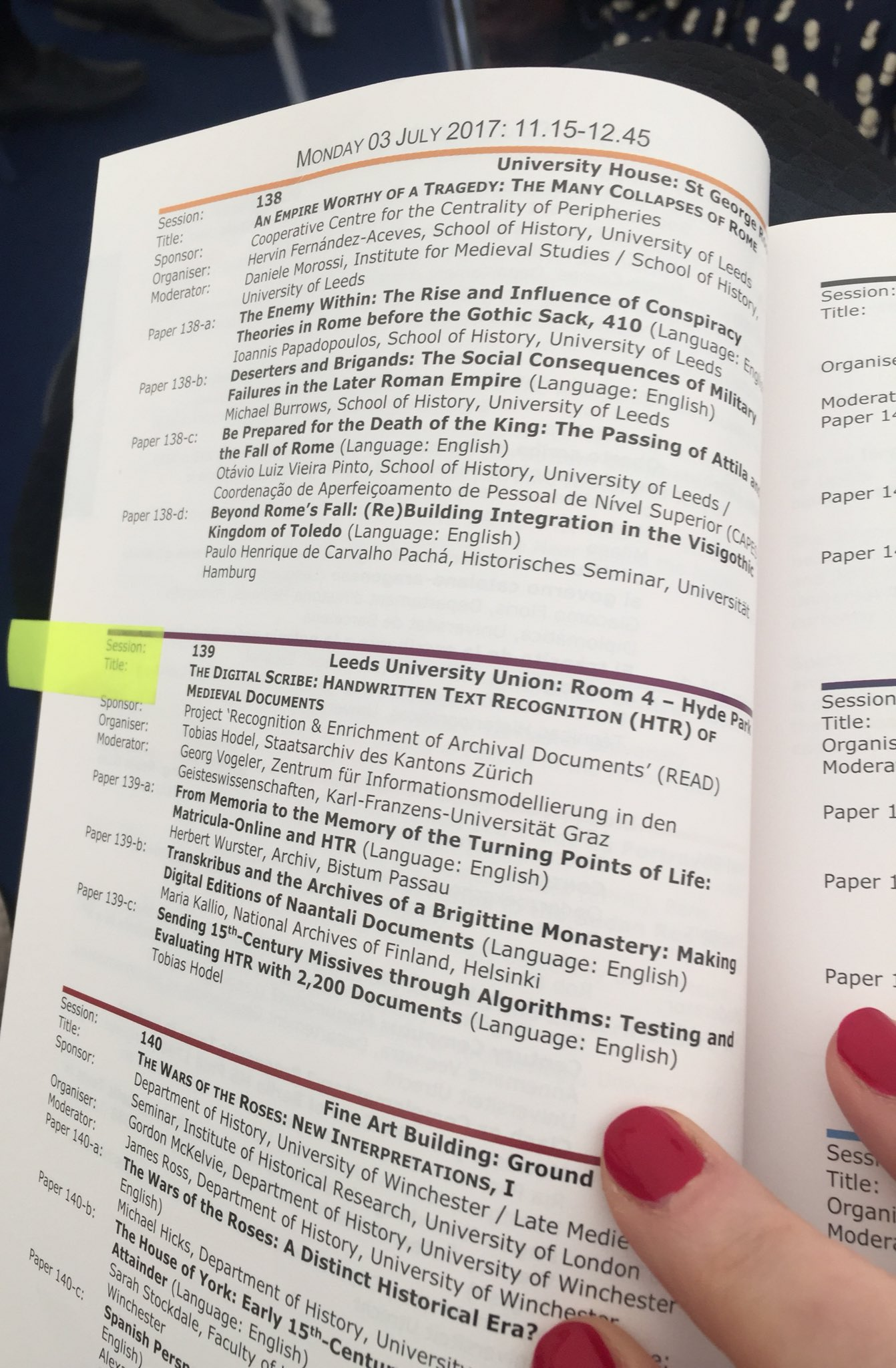Looking forward to chairing #s139 'The #Digital #Scribe: Handwritten Text Recognition (#HTR) of #Medieval Documents' this morning! #IMC2017 https://t.co/AiTTfHz0Ld