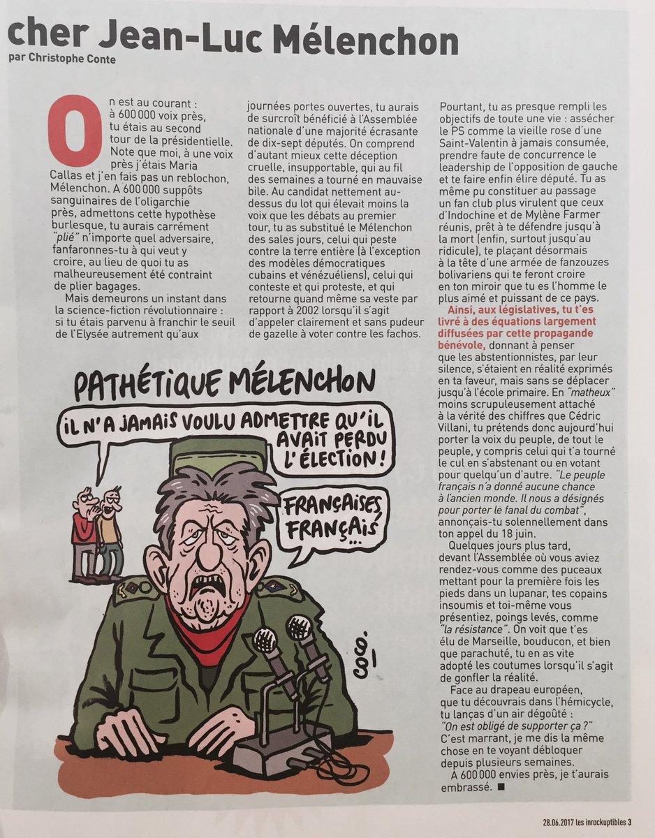 En une page #Melenchon, @christopheconte va se fâcher avec les #Insoumis et les #fanzouzes (+le #FN, mais il a l'habitude). Dessin @cocoboer