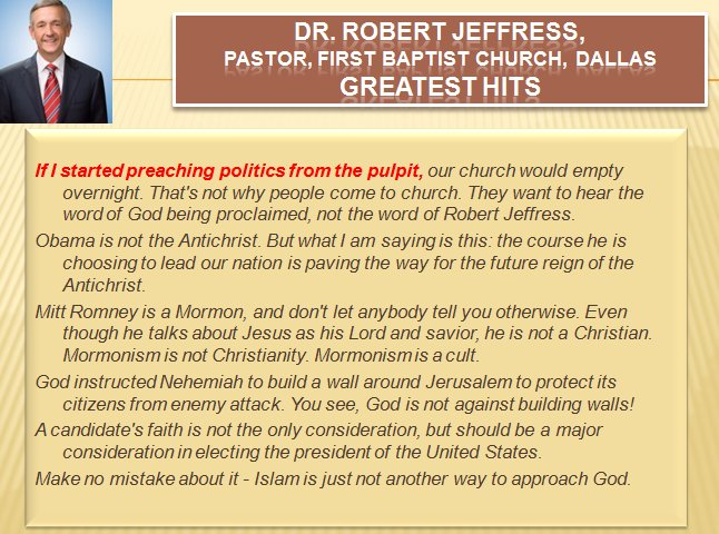 #Trump and the #companyhekeeps #RobertJeffress #edition #hypocrite #quotes #FirstBaptist #Dallas #megachurch  http:// paulsnewsline.blogspot.com/2017/07/donald -trump-and-company-he-keeps.html &nbsp; … <br>http://pic.twitter.com/MrUy516lge