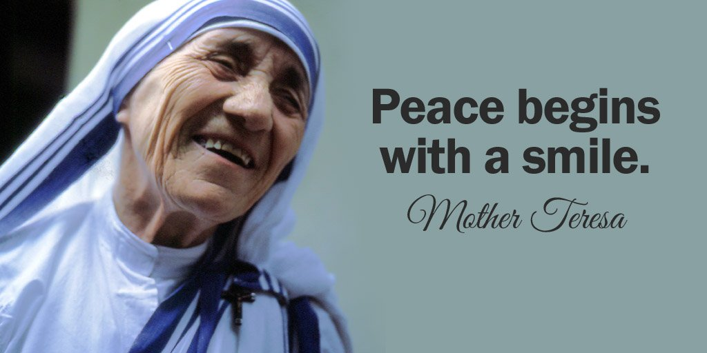 Peace begins with a smile. - Mother Teresa #quote #mondaymotivation
