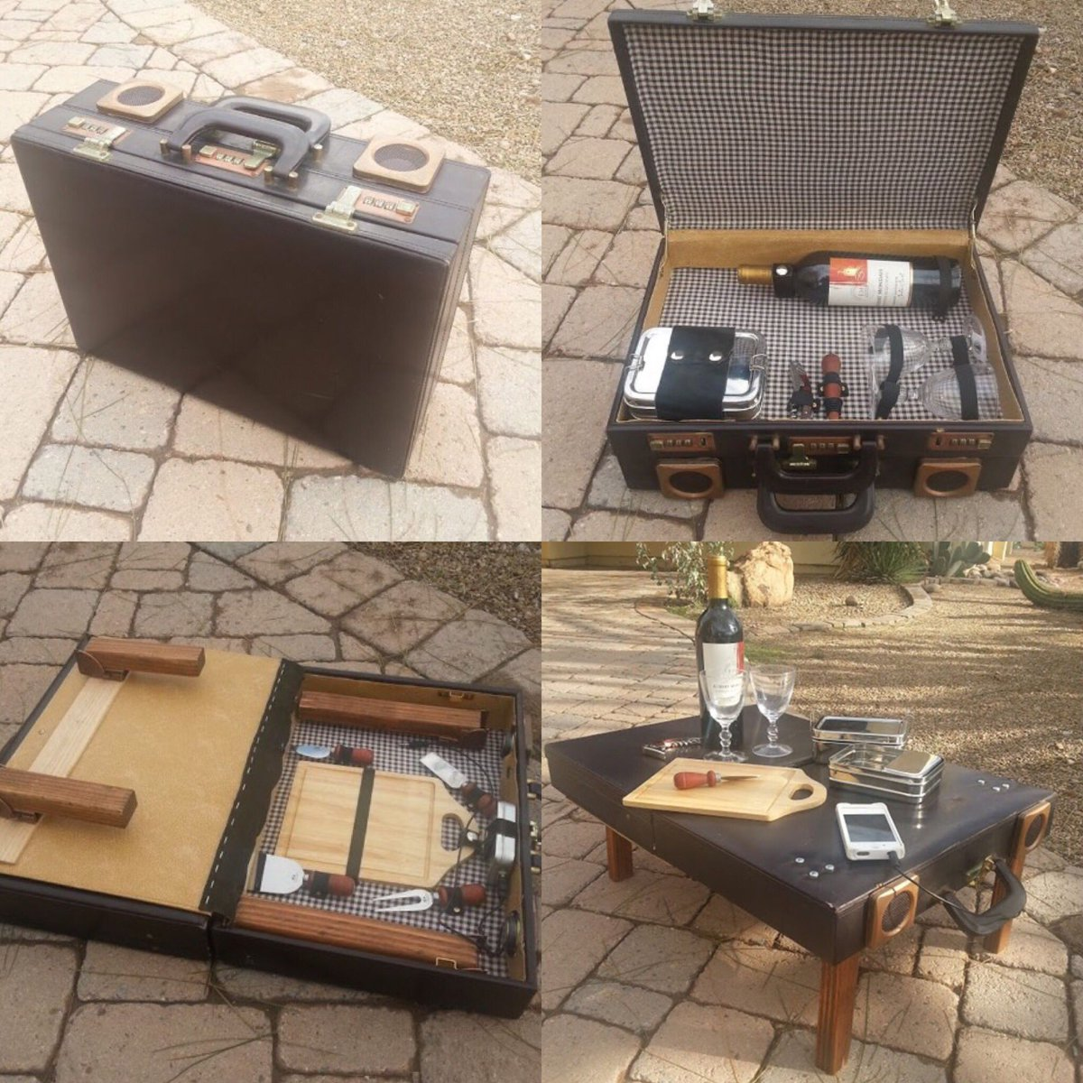 How #cool is this #repurposed #briefcase ?  . . . #picnic #wine #food @MacCocktail @winewankers @LoriMoreno @JMiquelWine @MrScottEddy <br>http://pic.twitter.com/ArA17osqJW