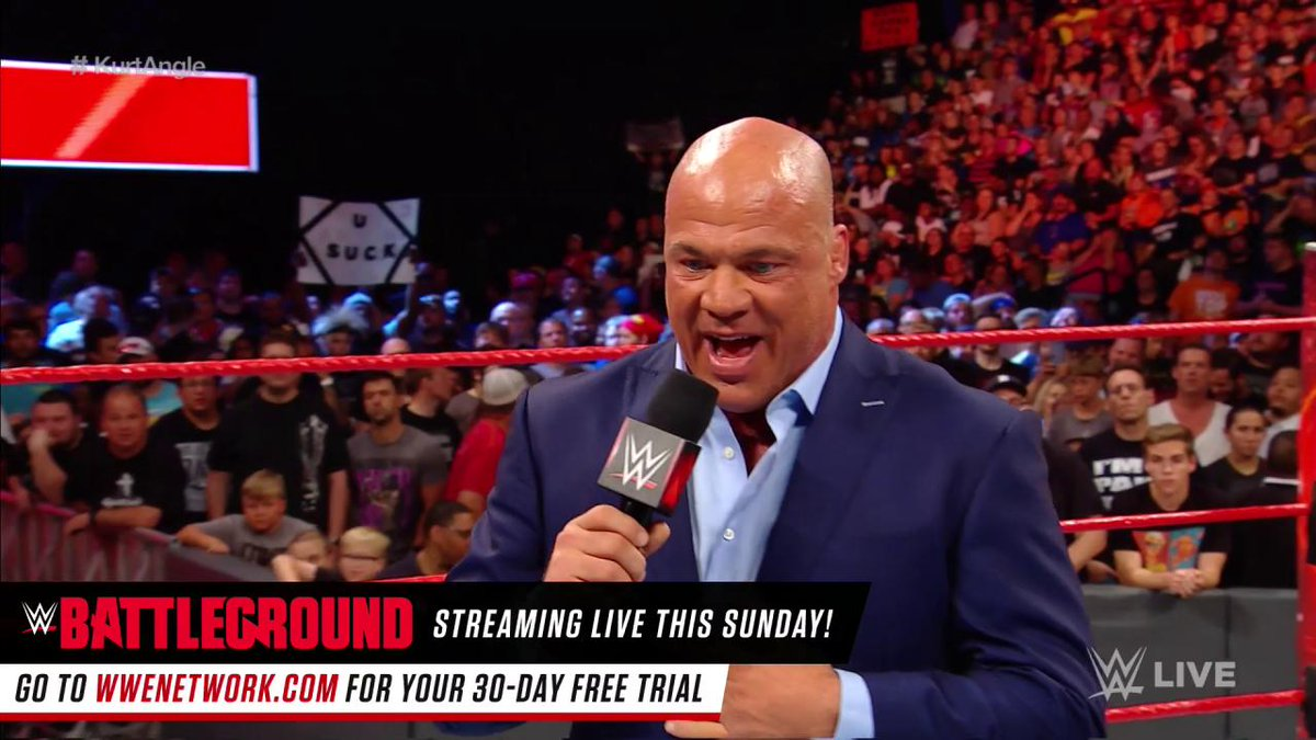 The secret is OUT! #RAW General Manager @RealKurtAngle reveals that @JasonJordanJJ is HIS SON!!!!