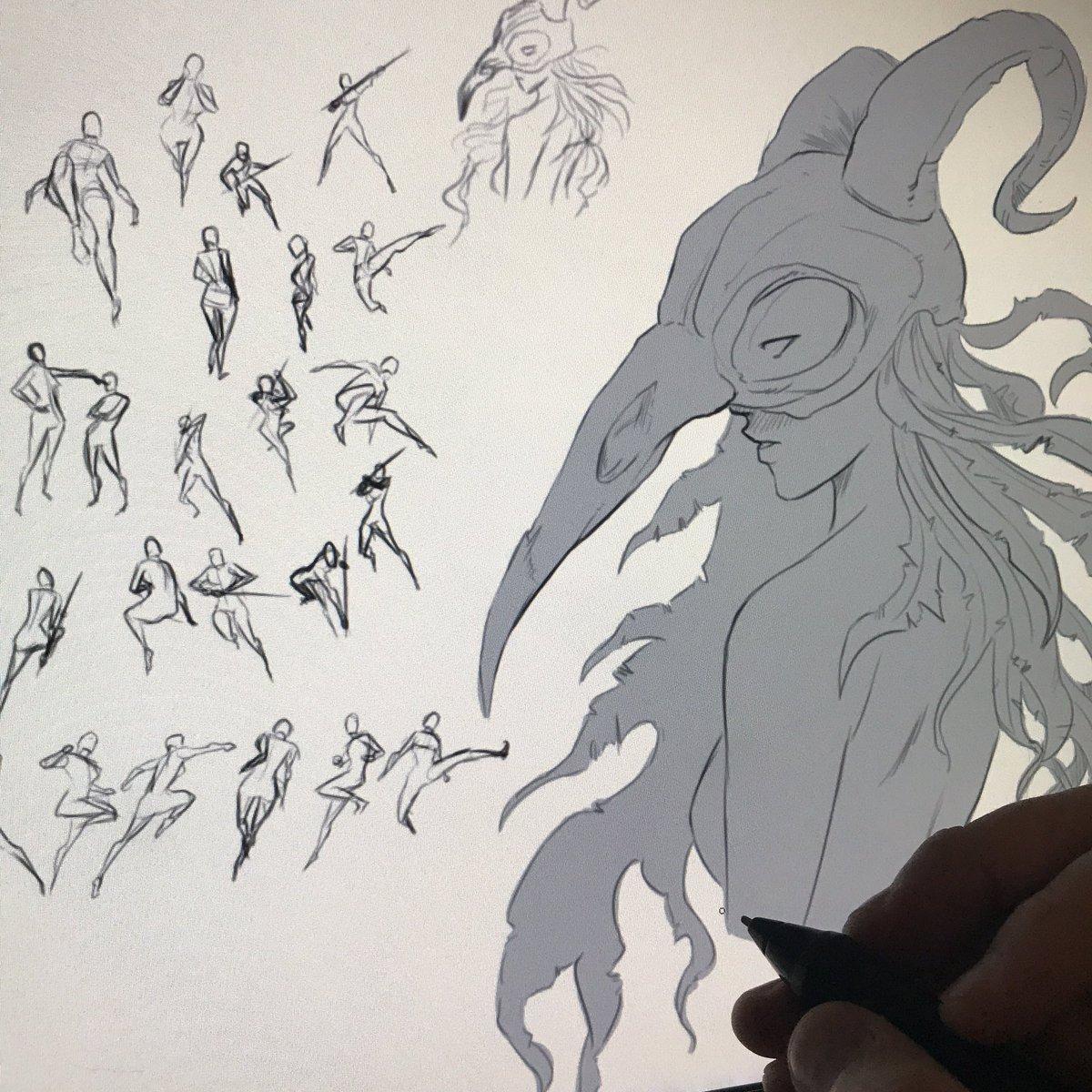 Danhowardart On Twitter Some Sketch Pages Art Drawing Skull Samurai Sword Gesture Pose