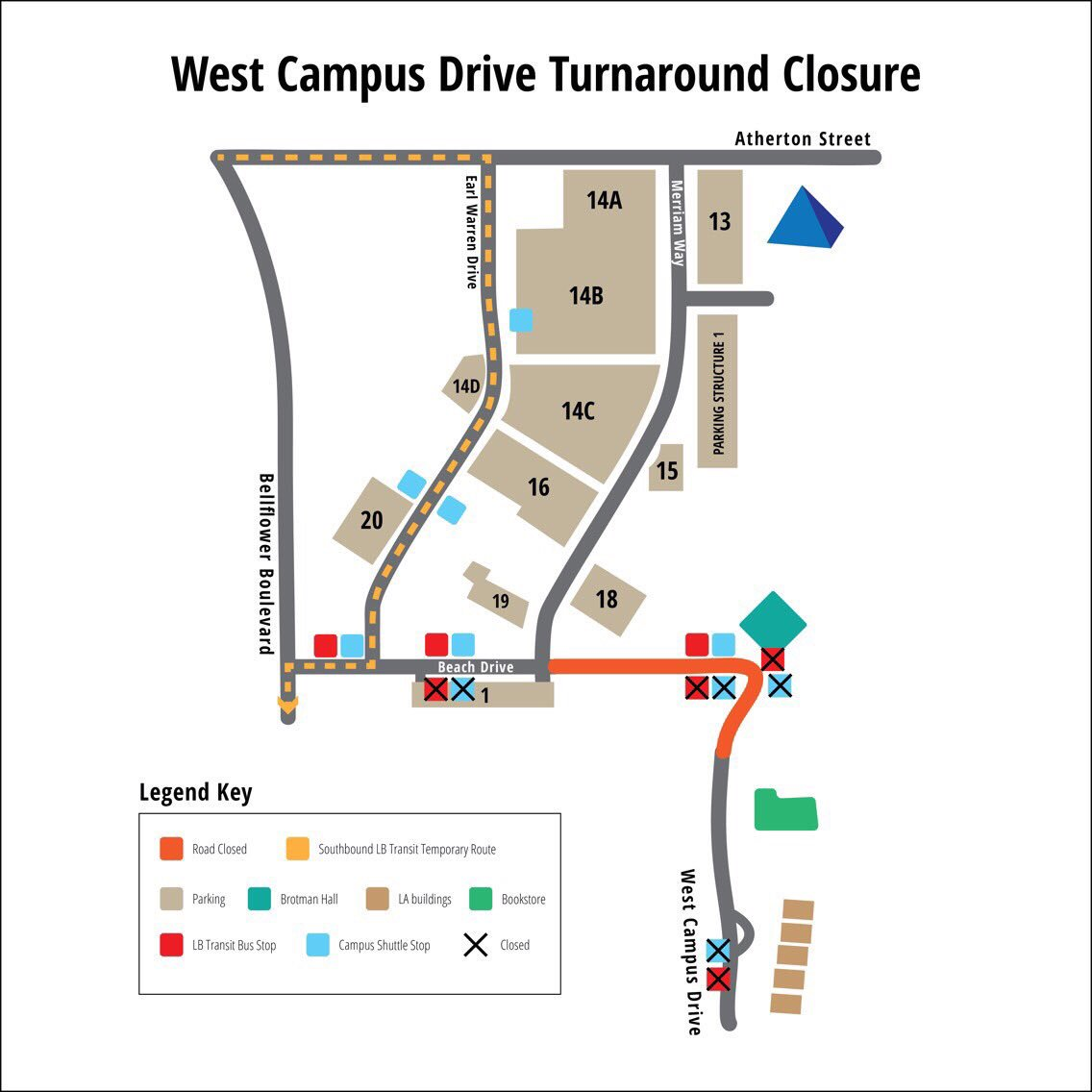 .@CSULB west campus bus detours start today and will last until Nov. 7, 2017.  #CSULB #LongBeach https://t.co/VTKbCaYHlQ