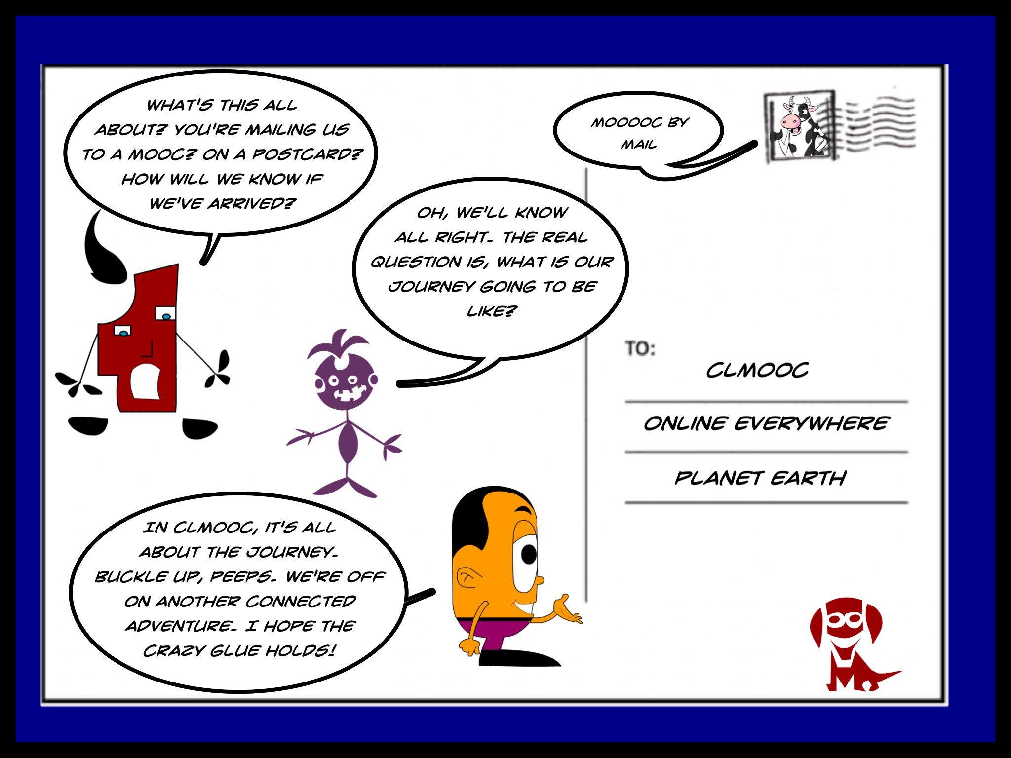 A #CLMOOC postcard comic ... I hope the 'crazy glue' holds! https://t.co/azuxZyyrps
