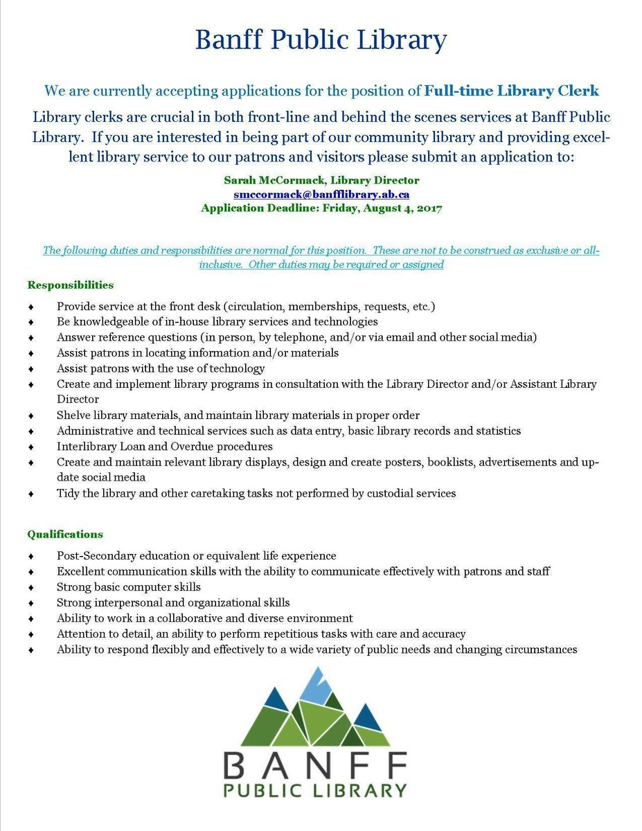 banff public library on twitter come work at the library drop