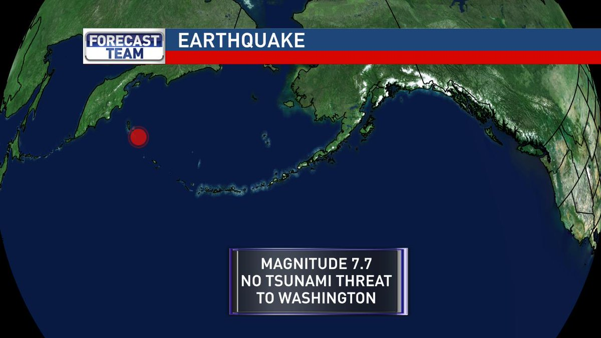 Major earthquake just about two hours ago between Alaska and Russia. No tsunami threat to WA, OR, and CA. https://t.co/U1Ys0GAIVy