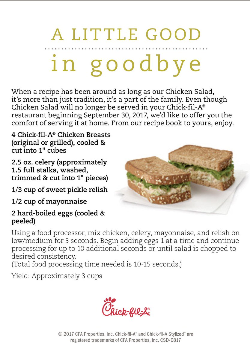 Chick fil a on twitter our chicken salad sanwhich is leaving our chick fil a on twitter our chicken salad sanwhich is leaving our menu today so we would love to share our recipe with you forumfinder Choice Image