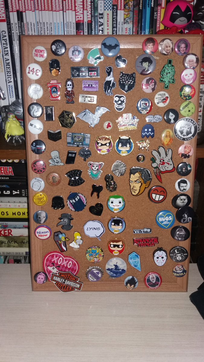 said #corkboard I&#39;ve had n is now full n this is JUST my #lapelpins some #pumlbuttons buy this take up 3jewlery boxes on their own..<br>http://pic.twitter.com/qTNIIPo7Mo