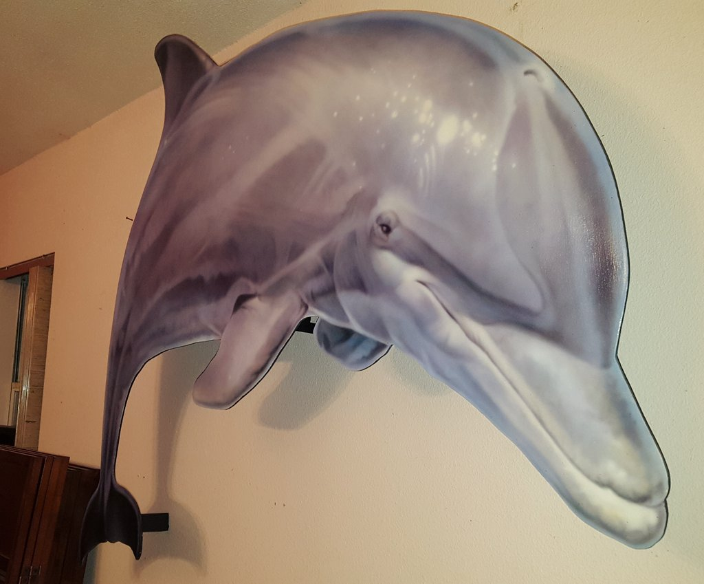 An airbrushed dolphin I painted.  #dolphin #painting #airbrush #wood #illusion.<br>http://pic.twitter.com/VUuWOdWcGP