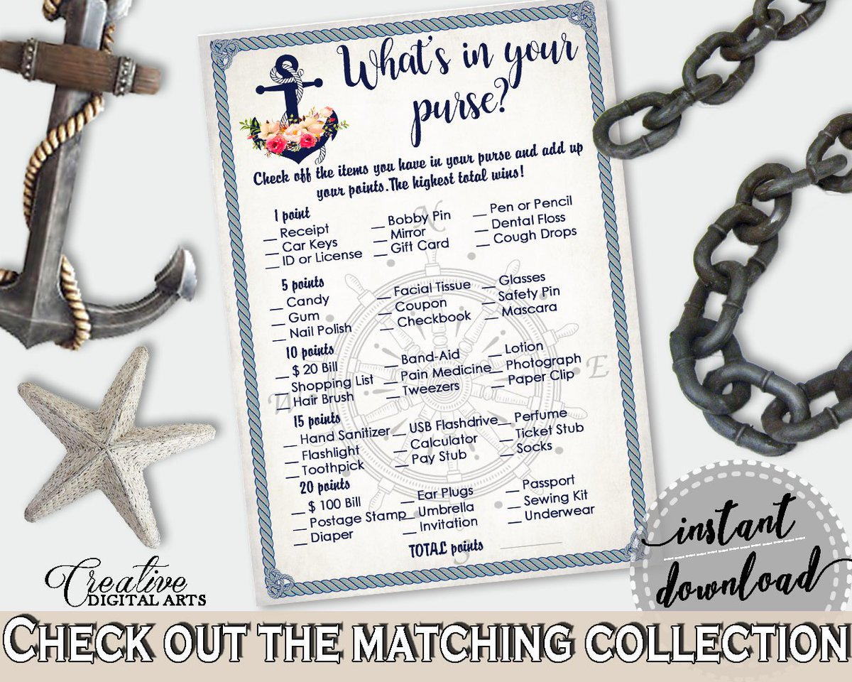 Bridal Shower What&#39;s In Your Purse in Nautical Anchor Flowers theme:  https://www. etsy.com/listing/513425 801 &nbsp; …  #bridalshower #bridalparty<br>http://pic.twitter.com/35og2CBNzm
