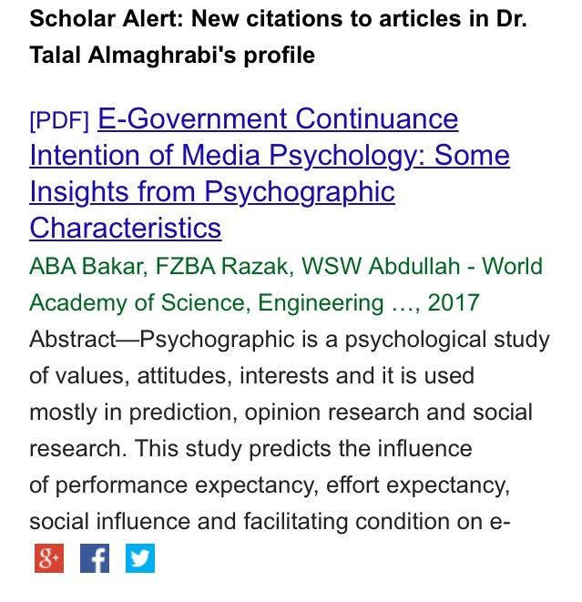 Thanks #GoogleScholar for keeping me updated when other cites my #Research #Marketing #تسويق #التجارة_الالكترونية  https:// scholar.google.co.uk/citations?user =U4IY4S0AAAAJ&amp;hl=en &nbsp; … <br>http://pic.twitter.com/qZrmgCPgoW