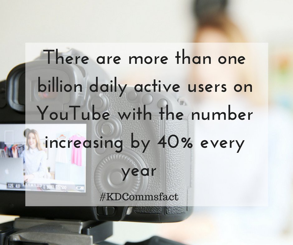 There are more than one billion daily active users on YouTube with the number increasing by 40% each year #KDCommsfact #videomarketing <br>http://pic.twitter.com/W0239244uC