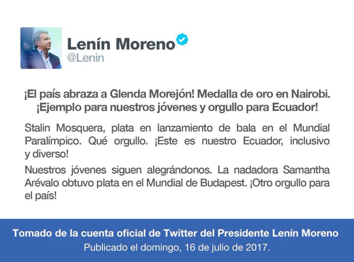 Mensaje del presidente Lenín Moreno destacando logros de atletas del país a nivel mundial