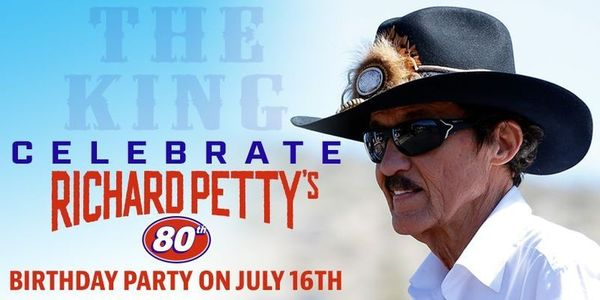 Help us wish Richard Petty a Happy 80th Birthday! Party starts in 30 minutes at the Trackside Live Stage!