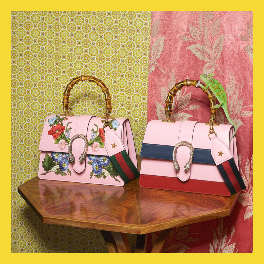 d74c7d8ec2bf Gucci design details: the web stripe, flowers and bamboo top handles on #guccidionysus  bags from #gucciprefall17