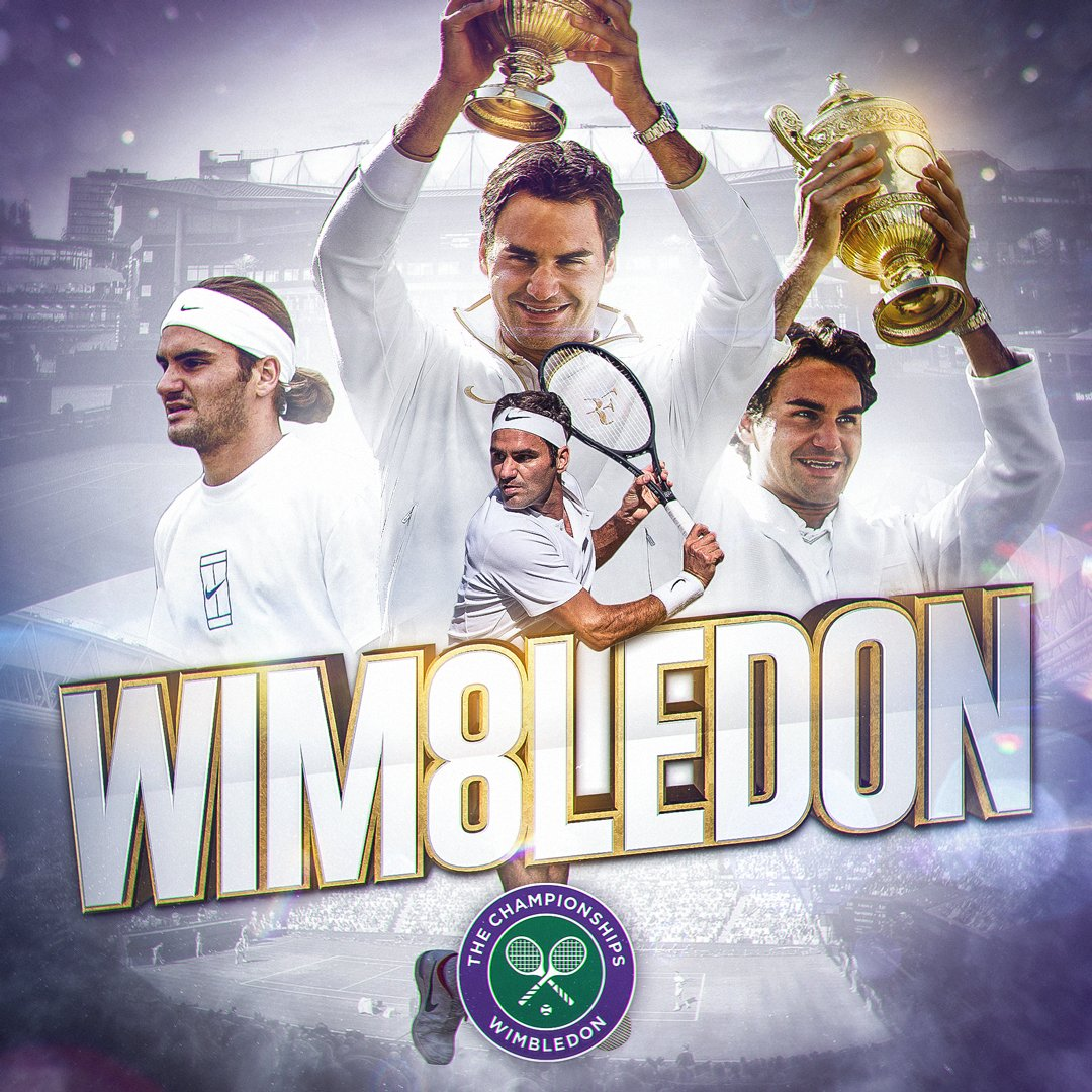 The record is broken.  For an historic eighth time, @rogerfederer wins the #Wimbledon men's singles title...