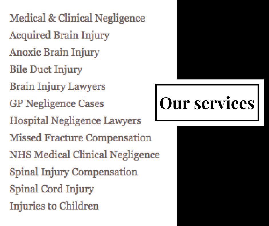 Just some of the claim expertise our #ClinicalNegligence team can offer you.  http:// ow.ly/feGD30aWssP  &nbsp;  <br>http://pic.twitter.com/xY1xrDr39J