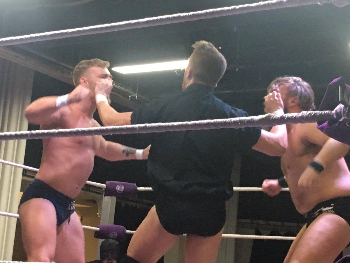 1 - @Tyler_Bate & @trentseven beat @Travis_BanksPW & @FederalesJr  @ATTACKWrestling #NeonWristlock https://t.co/cufUIbmxRF