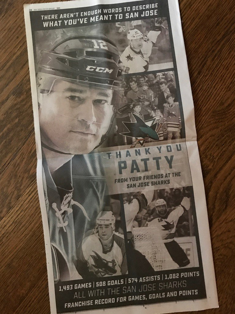 Old school: Full-page ad in Sunday's Merc from #SJSharks thanks Marleau for all he accomplished here. https://t.co/XQ79pcK2gQ
