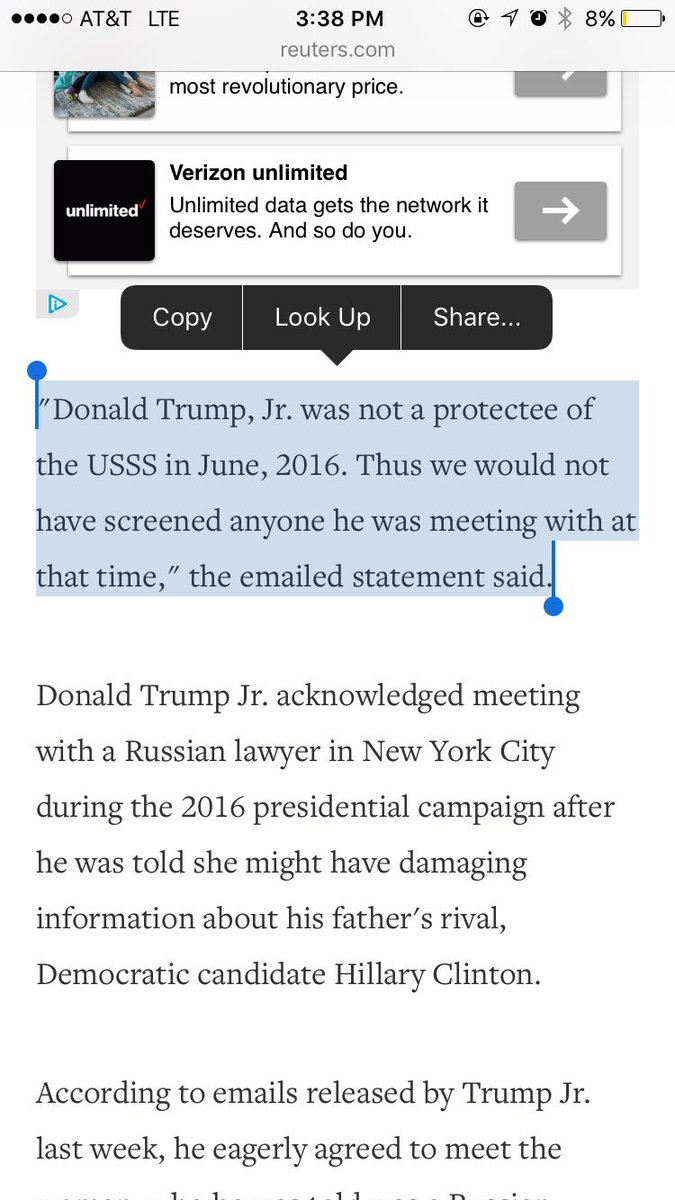 Secret Service confirms Don Jr. was not under protection in June 2016 & they wouldn't have vetted people he met with https://t.co/L6yM6GxW5Q