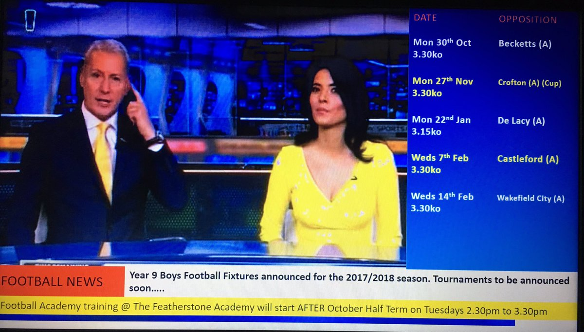 Breaking news on Sky Sports News - Year 9 Boys football fixtures 2017/2018 announced @FeatherstoneAca #FevFootball #FootballAcademy