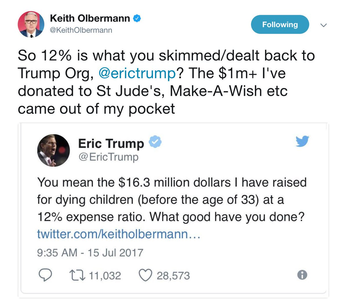 The Hill On Twitter Keith Olbermann Eric Trump Spar On Twitter Over Charitable Donations Https T Co J1b8yfsyw3 See more ideas about keith olbermann, keith, gq. twitter