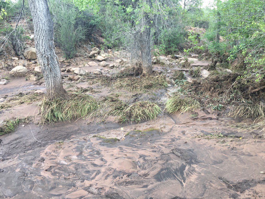 Aftermath of the Payson flash flood, which killed 9 people. One person is still missing. The search resumes tomorrow. https://t.co/T4UYwYu7UF