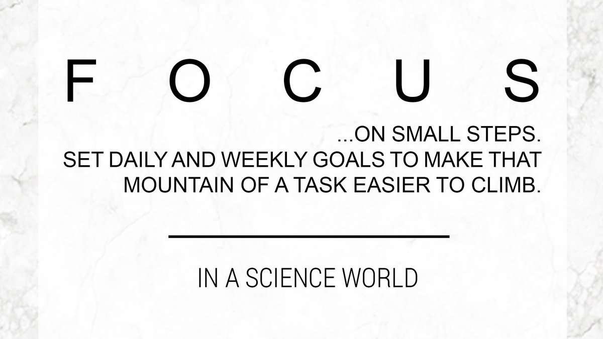 TopTip: Focus on small goals to reach those bigger ones  #MotivationMonday #advice #phdstudent #phdchat #thesislife #gradschool #scicomm<br>http://pic.twitter.com/HQnr16pogp