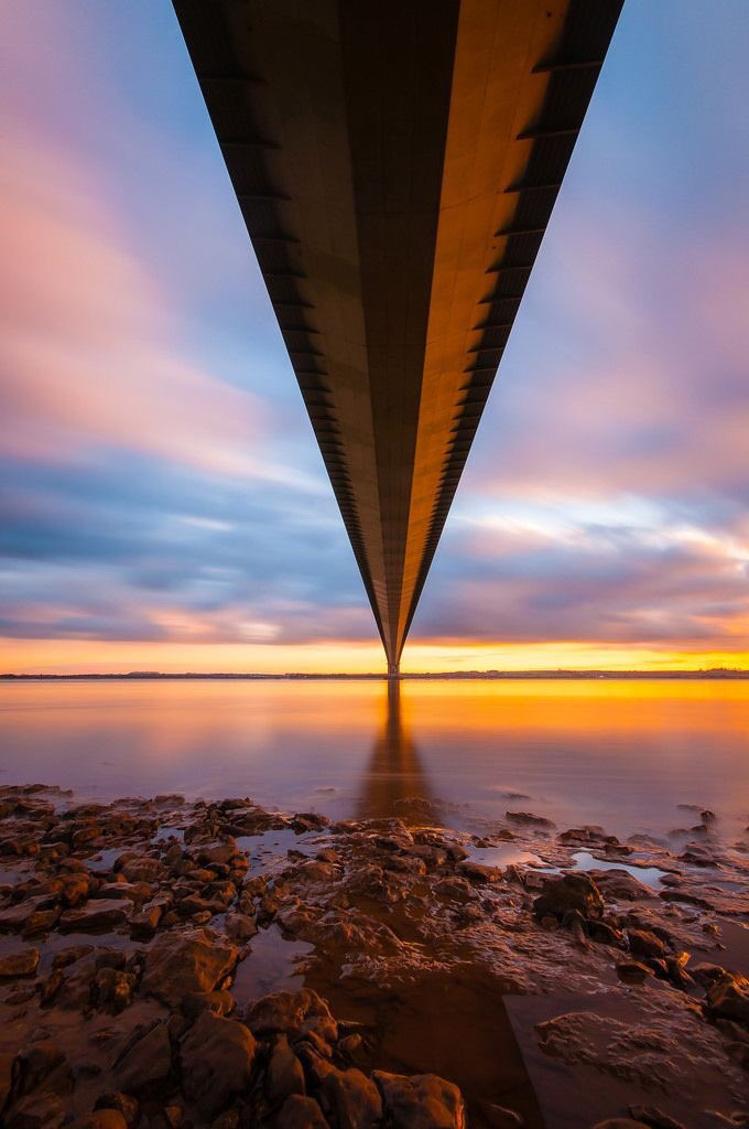 Humber Bridge sunrise  #photography by Bill Richards of this great bridge that spans the mighty Humber betwixt #Lincolnshire & #Yorkshire