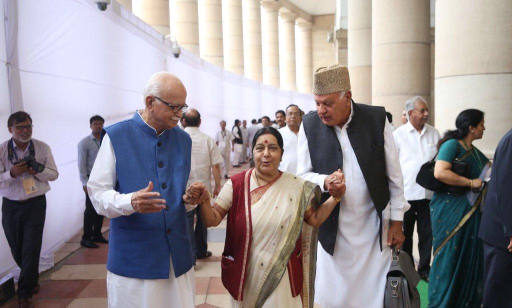 .@SushmaSwaraj with L K Advani and Faroo...