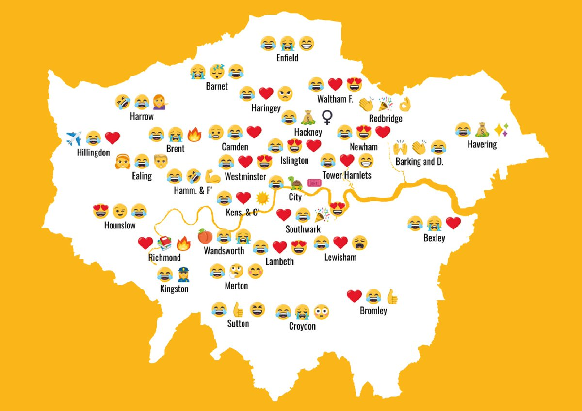 Top emojis in London boroughs right now....