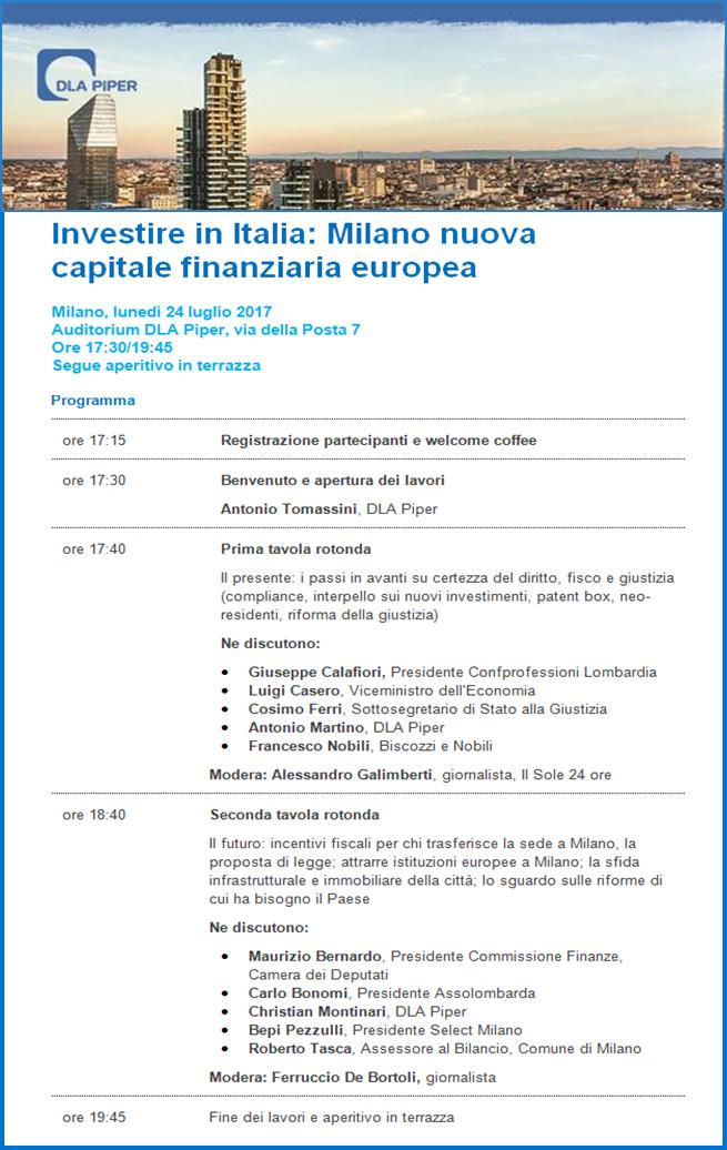 Dla Piper Italy On Twitter Evento 24 Luglio Milano Nuova