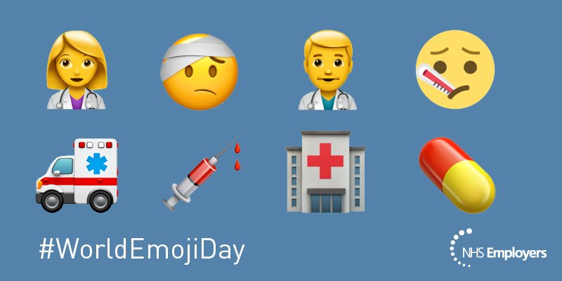 Happy #WorldEmojiDay, let's celebrate all our #NHS staff with the use of an #health emoji 👩‍⚕️👨‍⚕️ https://t.co/hgHuxYsz38