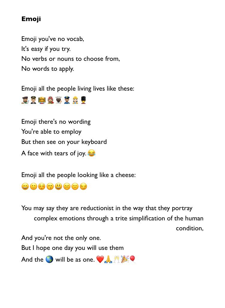 RT @brian_bilston: For #WorldEmojiDay here is John Lennon's 'Imagine' rewritten as a song about emojis. https://t.co/a9pwtLWGWg