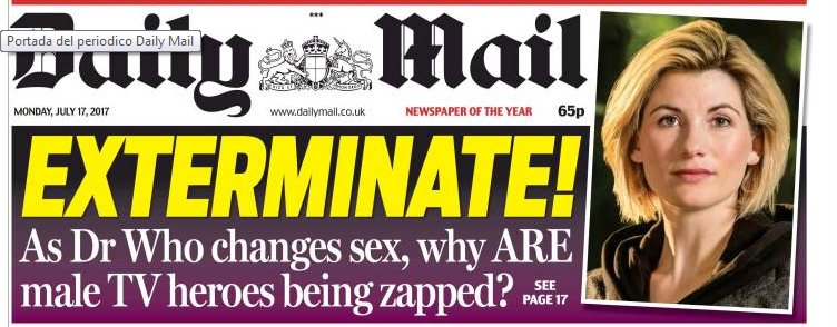 """Everyone else: """"Oh cool - a woman Dr Who."""" Paul Dacre: """"Ready the pink and black banner."""" https://t.co/ANEMgtyaDh"""