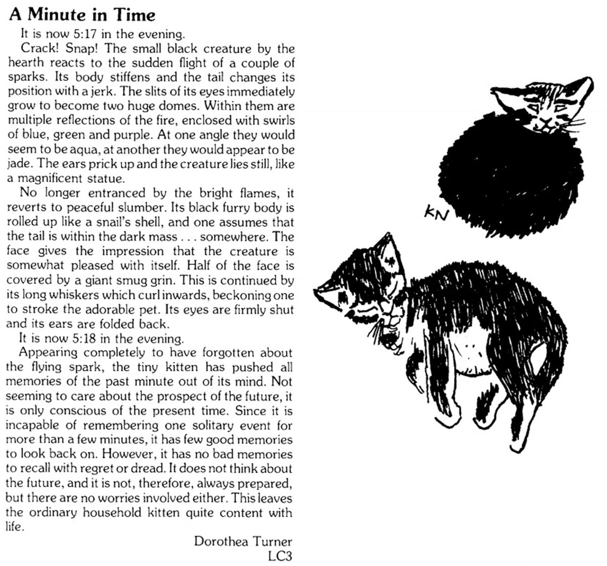 A Minute in Time: a #shortstory from the 1986 College Magazine. #MewseumMonday