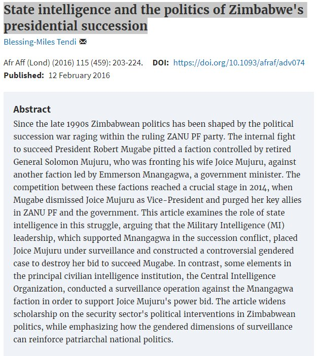 #ResearchSpotlight: State intelligence and the politics of Zimbabwe&#39;s presidential succession by @MilesTendi  https:// academic.oup.com/afraf/article- lookup/doi/10.1093/afraf/adv074 &nbsp; … <br>http://pic.twitter.com/QHeUJ1Ztwd