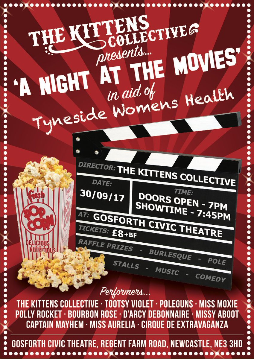 #KittensCollective presents…. A Night at the Movies!!  https://www. facebook.com/events/1100431 09614121/ &nbsp; …  @GoCivTheatre @TynesideWH #burlesque #charity #cabaret #ne <br>http://pic.twitter.com/AfXxlgUDNa