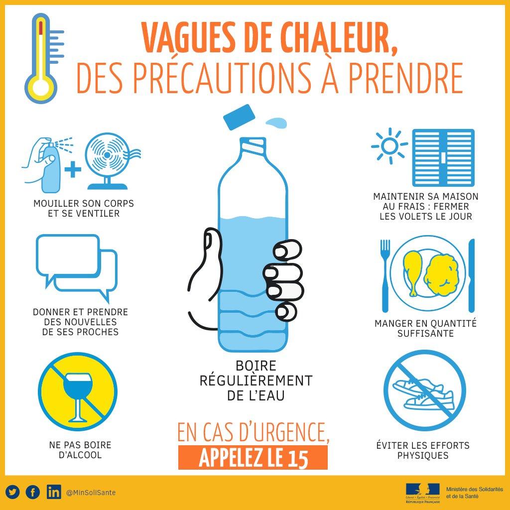 Niveau 2 du plan canicule pour demain 18/07 (Paris et petite couronne) : précautions pour soi et son entourage https://t.co/VY4npZMc1u