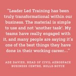 Our very first testimonial has just come through for Leader Led Training from Rolls-Royce Aerospace! https://t.co/TLDU5hlMqu #winningteams