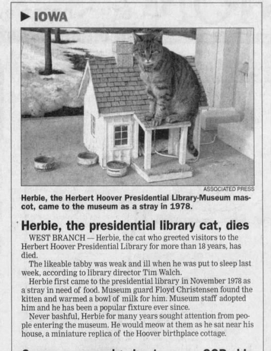 A tribute to a presidential museum cat. (Quad City Times, 1997) #MewseumMonday