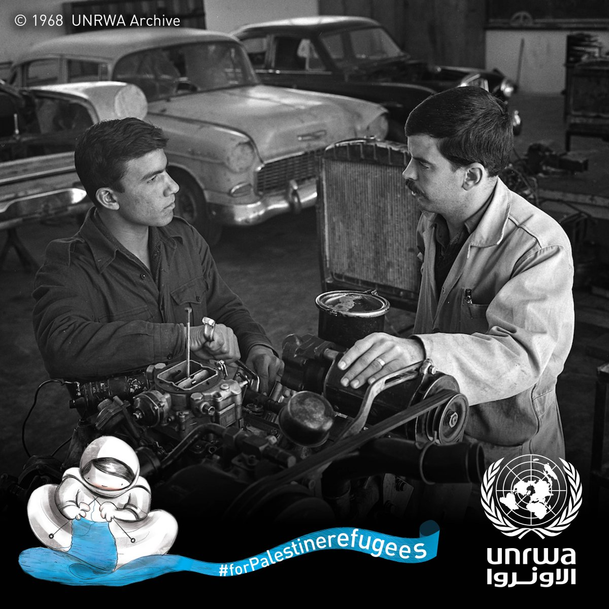 #Throwback to 1968: UNRWA provides #vocational training for #Palestine #refugees. Archival photo from #Damascus Training Centre in #Syria.<br>http://pic.twitter.com/jSZtSSDJIF