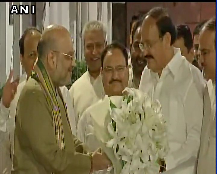Delhi: NDA #VicePresidential candidate Venkaiah Naidu with BJP preside...