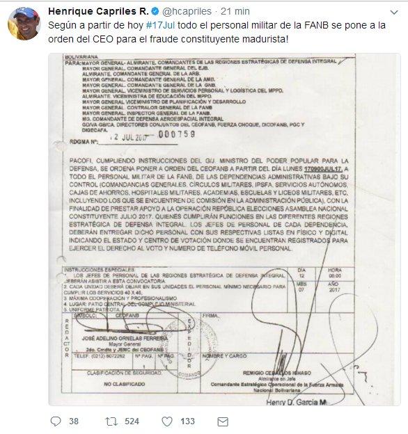 RT ReporteYa: #17Jul Informa el gobernador hcapriles a través de su tw...