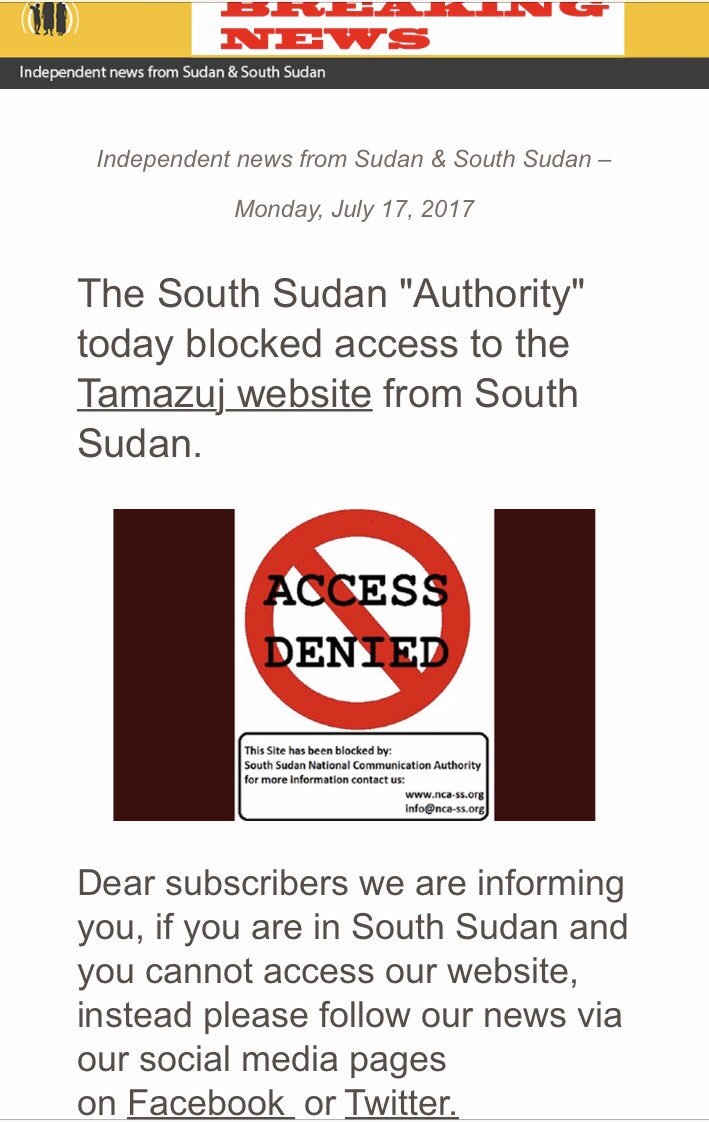 """#SouthSudan """"authority""""-and the quotation marks feel ever more so deserved. Big men w/ big guns afraid of the power of the pen? They should. https://t.co/jsp8QYJD7M"""