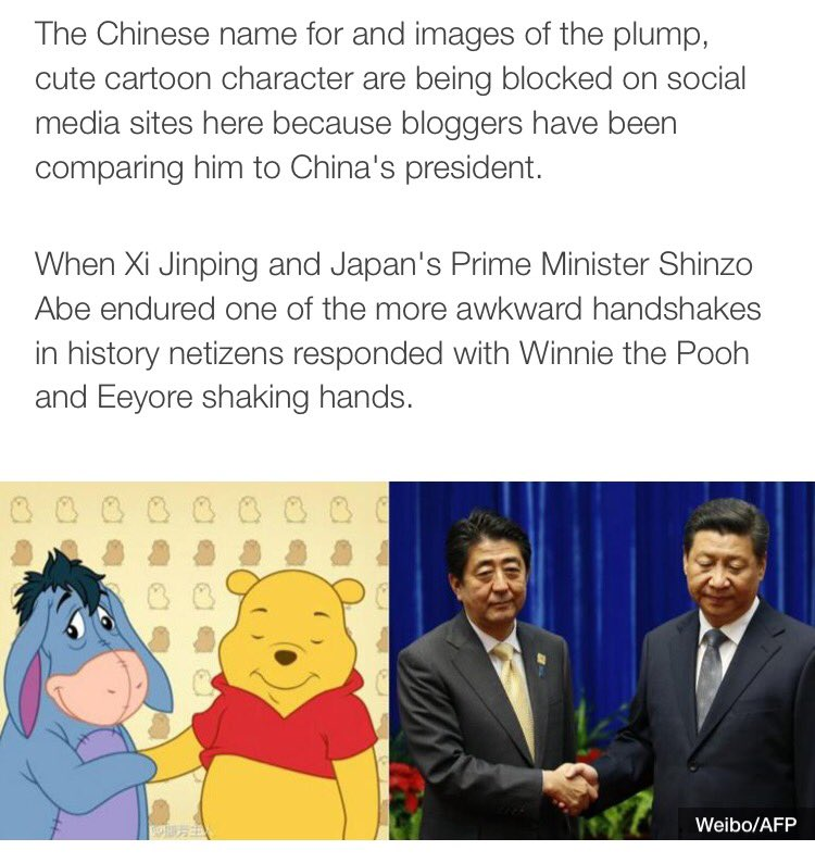 "This might be one of my favourite @BBCNews articles ever: ""Why China censors banned Winnie the Pooh"" https://t.co/De45obt0Nt https://t.co/6onOZ4x5sb"