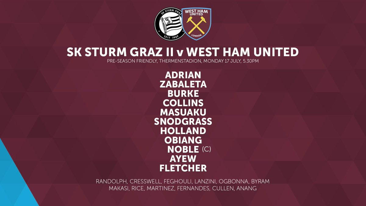 Here's the line-up for our first pre-season game... ⚒️  #COYI #WeAreWestHam